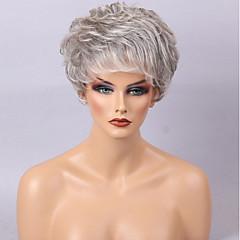 billige Lågløs-Human Hair Capless Parykker Menneskehår Løst, bølget hår Side del Highlighted/balayage-hår Kort Maskinproduceret Paryk Dame