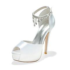 64dd13dd321 Women s Shoes Satin Spring   Summer Basic Pump Wedding Shoes Peep Toe  Rhinestone Blue   Pink   Ivory   Party   Evening