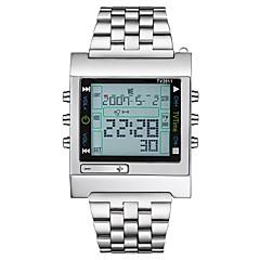 Erkek Kadın's Spor Saat Asker Saat Dijital saat Japonca Quartz Takvim Kronograf Su Resisdansı LCD Büyük Kadran Paslanmaz Çelik Bant Lüks