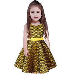 baratos Roupas de Meninas-Infantil Para Meninas Simples Para Noite / Casual Sólido Estampado Sem Manga Vestido / Algodão / Fofo / Princesa