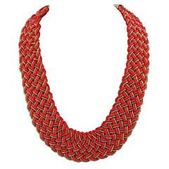 billige Halsbånd-Dame Bohemisk Kort halskæde  -  Bohemisk Etnisk Rød Lyseblå Lys Grøn Halskæder Til Ceremoni Skolebal