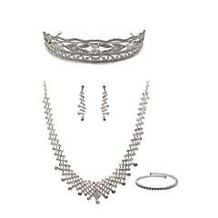 cheap Jewelry Sets-Women's Rhinestone Imitation Diamond Jewelry Set Body Jewelry 1 Necklace Earrings - Fashion European White Tiaras Bridal Jewelry Sets For