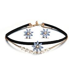 baratos Conjuntos de Bijuteria-Mulheres Cristal Conjunto de jóias - Cristal Flor Simples, Fashion Incluir Brincos Curtos / colares em camadas Dourado Para Diário