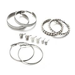 Damskie Kolczyki koła Pearl imitacja Modny Ponadgabarytowych Stop Circle Shape Biżuteria Ceremonia