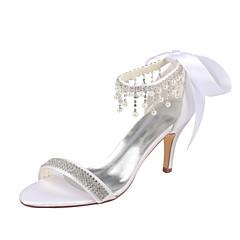 halpa -Naiset Kengät Elastinen satiini Kesä Persu avokkaat häät Kengät Stilettikorko Avokkaat Kristalleilla Helmillä varten Puku Juhlat Valkoinen