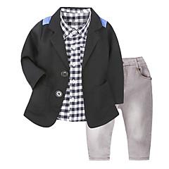 billige Tøjsæt til drenge-Drenge Tøjsæt Daglig Skole Houndstooth mønster, Bomuld Alle årstider Langærmet Afslappet Gade Sort