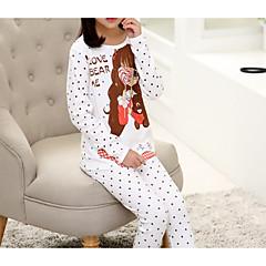 billige Undertøj og sokker til piger-Børn Pige Simple Mønstret Langærmet Kort Bomuld Nattøj