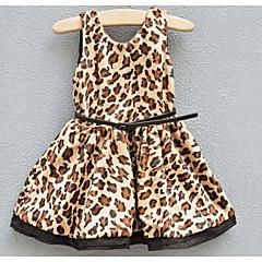 billige Pigekjoler-Pige Simple Ferie / Afslappet / Hverdag Prikker / Leopard Uden ærmer Polyester Kjole Kakifarvet 100