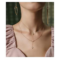 billige Fine smykker-Dame Dobbelt Lagdelt Halskæder med flere lag  -  Dobbelt Lagdelt Mode Geometrisk form Guld Halskæder Til Aftenselskab Skolebal