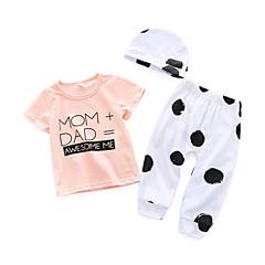 billige Sett med babyklær-Baby Pige Simple Daglig Trykt mønster Kort Ærme Bomuld Tøjsæt Lyserød 90