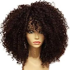 billiga Peruker och hårförlängning-Äkta hår Spetsfront Peruk Brasilianskt hår Lockigt Afro Kinky 130% Densitet obearbetade 100% Jungfru Mittbena Naturlig hårlinje Korta