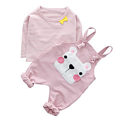 billige Babytøj-Baby Pige Simple Stribet / Trykt mønster Kort Ærme Bomuld Tøjsæt