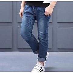 billige Jeans til drenge-Børn Drenge Aktiv Ensfarvet / Simpel Bomuld Jeans Blå