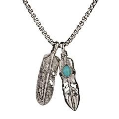 cheap Men's Necklaces-Men's Women's Turquoise Pendant Necklace - Turquoise Leaf Simple, Hip-Hop Silver Necklace Jewelry One-piece Suit For Daily