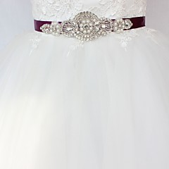 cheap Party Sashes-Satin/ Tulle Wedding Special Occasion Sash With Rhinestone Imitation Pearl Paillette Women's Sashes