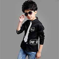 billige Overdele til drenge-Børn Drenge Simple Ensfarvet / Stribet / Bogstaver Langærmet Bomuld Skjorte Hvid