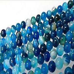 billige Perler og smykkemaking-DIY Smykker 46 stk Perler Agat Blå Rund Perlene 0.8 cm DIY Halskjeder Armbånd