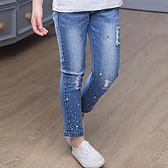 baratos Roupas de Meninas-Para Meninas Jeans Diário Sólido Primavera Outono Pêlo de Coelho Algodão Simples Azul