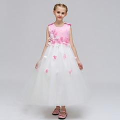 baratos Roupas de Meninas-Infantil Para Meninas Retalhos / Brilhante / Flor Sem Manga Vestido / Algodão / Fofo / Princesa