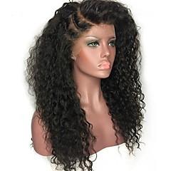billiga Peruker och hårförlängning-Äkta hår Spetsfront Peruk Indiskt hår Lockigt Jerry Lockigt Med babyhår 150% Densitet obearbetade 100% Jungfru Naturlig hårlinje Mellan