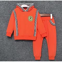tanie Odzież dla chłopców-Brzdąc Dla chłopców Casual Codzienny Nadruk Długi rękaw Bawełna Komplet odzieży Pomarańczowy 100