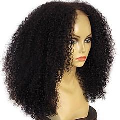 billiga Peruker och hårförlängning-Äkta hår Spetsfront Peruk Mongoliskt hår Lockigt Afro Kinky 130% Densitet obearbetade 100% Jungfru Mittbena Naturlig hårlinje Mellan Dam