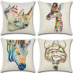 cheap Throw Pillows-4 pcs Cotton / Linen Pillow Cover, 3D Retro Animal
