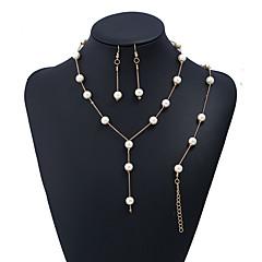 baratos Conjuntos de Bijuteria-Mulheres Conjunto de jóias - Coreano, Doce, Elegante Incluir Colares com Pendentes / Pulseira / Brincos dangle Dourado / Prata Para Casamento / namorados