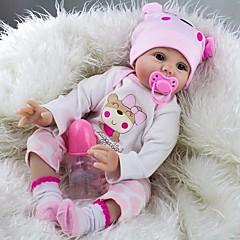 ieftine Păpuși, Seturi de jucării și Animale umplute-NPK DOLL Păpuși Renăscute Bebe Fetiță 22 inch Silicon / Vinil - natural, Mâini aplicate manual, Artificial Implantation Blue Eyes Lui Kid Unisex Cadou / Cuie cu buzunare și sigilate / CE