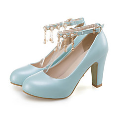 cheap Women's Heels-Women's Shoes PU(Polyurethane) Spring / Fall Comfort / Novelty Heels Chunky Heel Pointed Toe Beading / Rivet / Buckle Beige / Blue / Pink