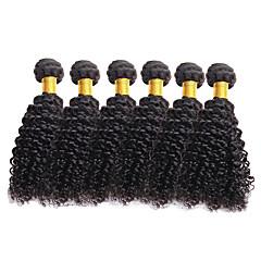 billiga Hårförlängningar av äkta hår-6 paket Brasilianskt hår Lockigt 10A Obehandlad hår Human Hår vävar 8-26 tum Natur Svart Hårförlängning av äkta hår Människohår förlängningar