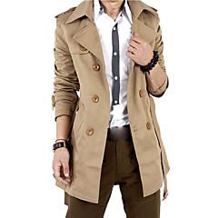 Solide Freizeit Ausgehen Trench Coat,Hemdkragen Winter Herbst Langärmelige Lang Baumwolle Polyester überdimensional