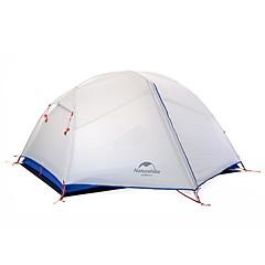 billige Telt og ly-Naturehike 2 personer Dobbelt camping Tent Utendørs Turtelt Fort Tørring Vindtett Regn-sikker til >3000 mm Belagt stoff Nylon
