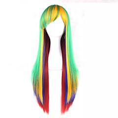 tanie Peruki syntetyczne-Peruki syntetyczne Prosto Z grzywką Gęstość Bez czepka Zielnony Lolita Wig 13 cm Włosy syntetyczne