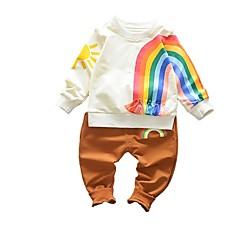 billige Tøjsæt til piger-Pige Tøjsæt Daglig Regnbue, Bomuld Forår Langærmet Aktiv Brun Sort Rød