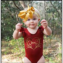 billige Pigetoppe-Baby Pige Simple Ferie / I-byen-tøj Ensfarvet / Blomstret / Trykt mønster Drapering Kortærmet Bomuld Bluse / Sødt