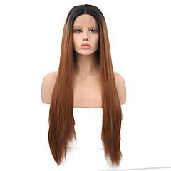 billiga Peruker och hårförlängning-Syntetiska snörning framifrån Rak Brun Dam Spetsfront Naturlig peruk Lång Syntetiskt hår
