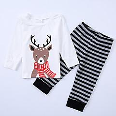 billige Tøjsæt til drenge-Baby Unisex Afslappet Skole / I-byen-tøj Stribet / Dyr Patchwork Langærmet Bomuld Tøjsæt / Sødt