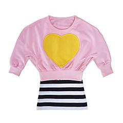 billige Tøjsæt til piger-Baby Pige Aktiv Daglig / Ferie Stribet Hjerte Stil Langærmet Lang Kort Bomuld Tøjsæt Lyserød