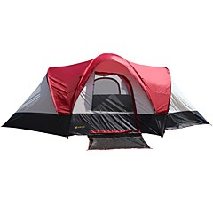 cheap Tents, Canopies & Shelters-5-8 persons Cabin Tent Double Camping Tent Two Rooms Family Camping Tents Windproof Rain-Proof for Camping / Hiking / Caving Picnic