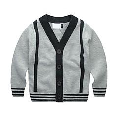 billige Sweaters og cardigans til drenge-Drenge Trøje og cardigan Daglig Ferie Ensfarvet, Bomuld Forår Langærmet Simple Grå