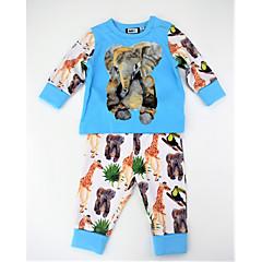 billige Tøjsæt til drenge-Drenge Tøjsæt Daglig Dyretryk Farveblok, Bomuld Forår Efterår Langærmet Aktiv Blå
