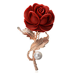 cheap Pins and Brooches-Women's Brooches Gold Plated Flower Red Bohemian Elegant European Jewelry Party Daily Costume Jewelry