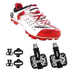 billige Sykkelsko-SIDEBIKE Voksne Sykkelsko med pedal og tåjern / Mountain Bike-sko Nylon Demping Sykling Rød og Hvit Herre