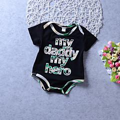 billige Pigetoppe-Baby Unisex Aktiv / Basale Daglig / Ferie Trykt mønster / Farveblok Trykt mønster Kortærmet Normal Bomuld / Polyester Bluse Sort 100