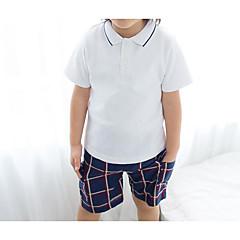 billige Tøjsæt til drenge-Baby Drenge Simple Ternet Kortærmet Tøjsæt