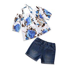 billige Tøjsæt til piger-Baby Pige Afslappet I-byen-tøj Blomstret / Trykt mønster Udskæring / Ribbet / Trykt mønster Kortærmet Bomuld Tøjsæt