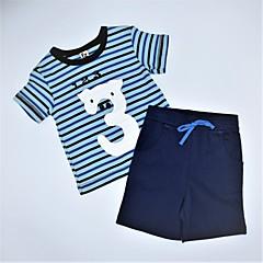 baratos Roupas de Meninos-Para Meninos Conjunto Diário Listrado Estampado Estampa Colorida Verão Algodão Casual Azul