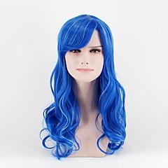billiga Peruker och hårförlängning-Syntetiska peruker Löst vågigt Syntetiskt hår Blå Peruk Dam Mellanlängd Naturlig peruk Utan lock