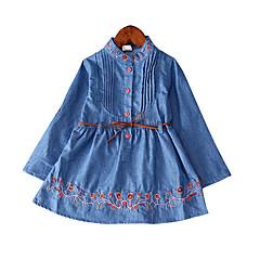 baratos Roupas de Meninas-Menina de Vestido Diário Feriado Sólido Primavera Algodão Poliéster Manga Longa Simples Casual Azul